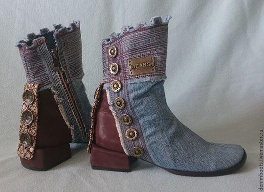 Обувь ручной работы. Заказать Ботинки джинсовые высоки комбинированные с бордовой кожей, 3см. каблук. Denim Boots (джинсовая обувь). Ярмарка Мастеров.