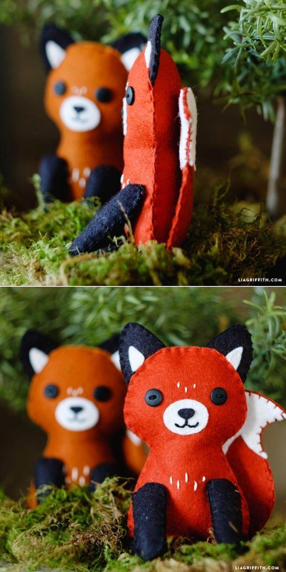 #feltfox #foxstuffie #diyfelt #feltcraft #diytoy www.LiaGriffith.com