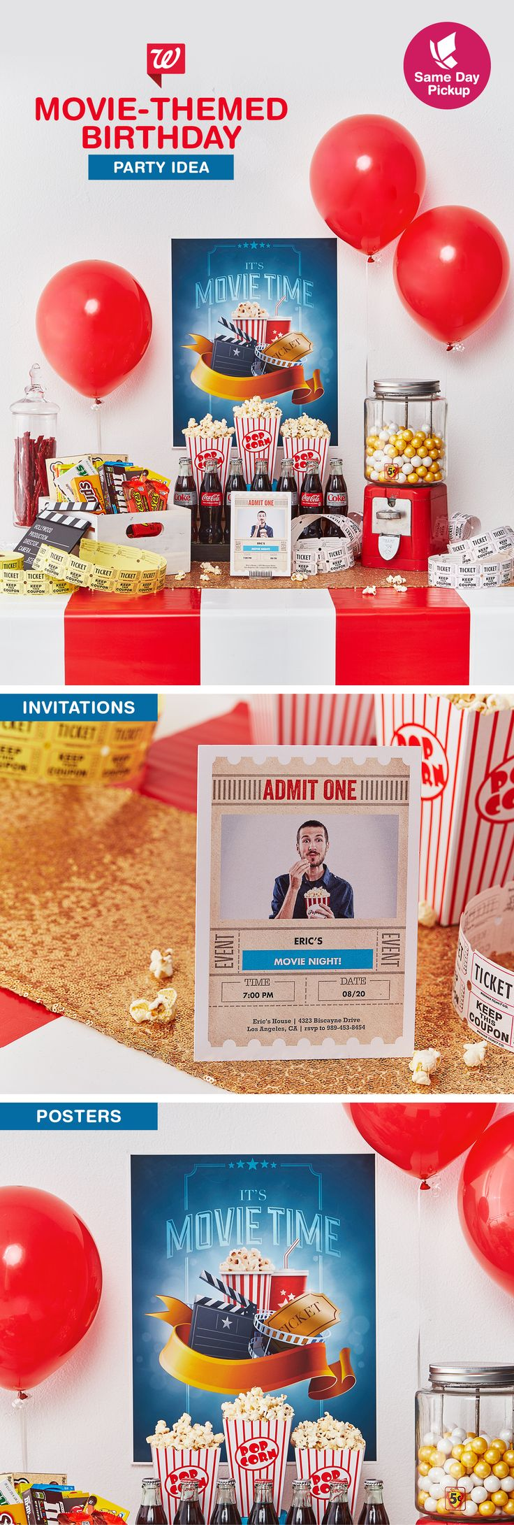 It's so easy to throw together a movie-themed party with just one quick trip. Create invites and a poster straight from your phone, and pick up movie theater snacks. Make your guests the stars of the show with a DIY photo booth! Learn more on our Smile Blog.