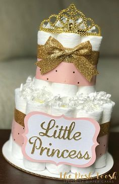 Pink and Gold Diaper Cake Baby Shower Centerpiece Baby  www.TopsyTurvyDiaperCakes.com * diaper cakes for baby shower & washcloth favors