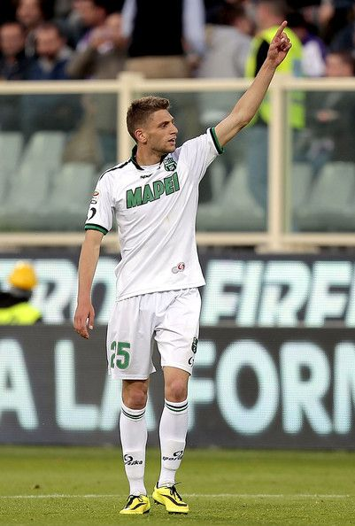 Domenico Berardi of US Sassuolo Calcio celebrates after scoring a gol during the Serie A match between ACF Fiorentina and US Sassuolo Calcio...