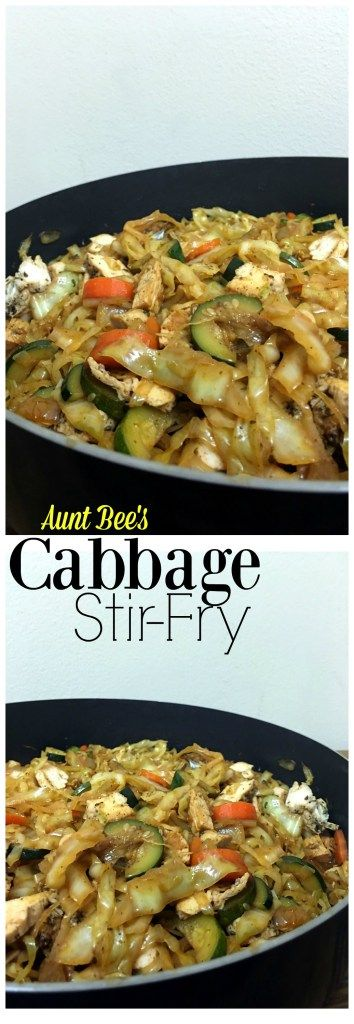 You won't miss the noodles or rice at all in this Cabbage Stir-Fry!  My carb-loving hubby ate 2 HUGE bowls & asked me to make it again the next day! (Low Carb Easy Stir Fry)