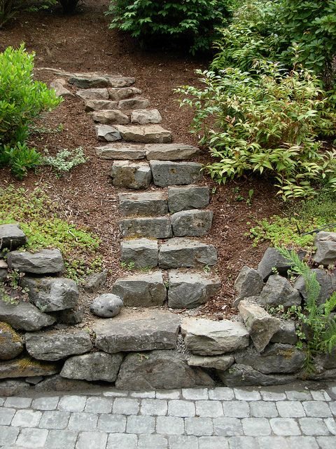 And maybe one day some beautiful rock steps to take you to our patio/fire pit in the woods. Sigh, a girl can dream...