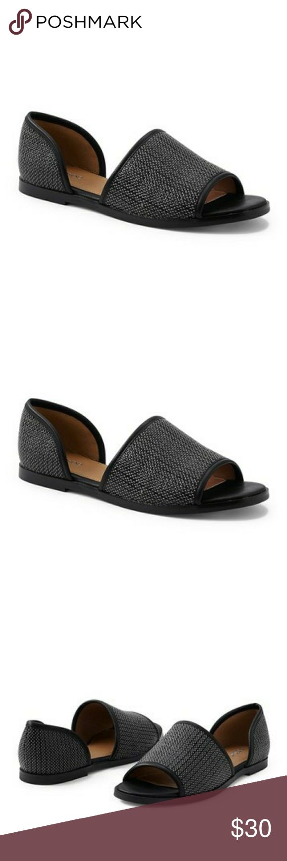 Land's End d'Orsay Open Toe Flat NIB  Sizing: True to size.  - Open toe - Woven detail - d'Orsay design - Slip-on - Imported  Materials - Polyester upper, rubber sole Lands' End Shoes Flats & Loafers