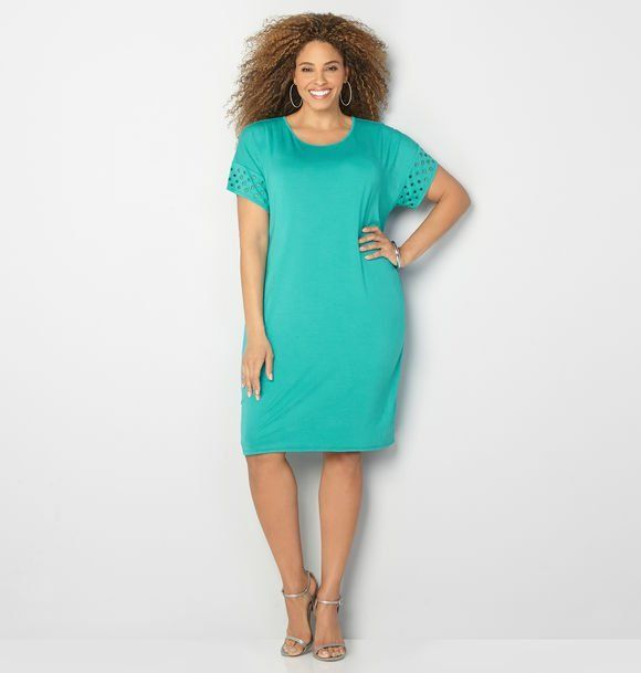 This dress is so simple it's perfect! I love the color!! #ad #turquoise #plussize #fashion #eyelet #shift #jersey #dress