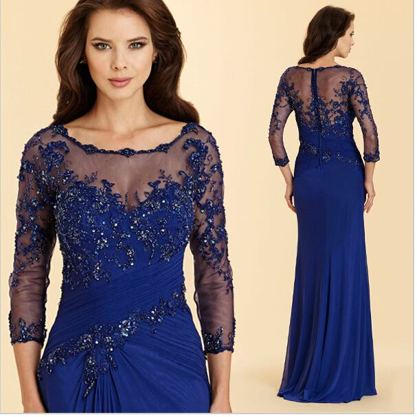 Elegant Long 3/4 sleeve Floor Length Chiffon Mother of the Bride Groom Dress with Lace Blue Formal Evening Gowns dress Luu15-in Mother of the Bride Dresses from Weddings & Events on Aliexpress.com | Alibaba Group