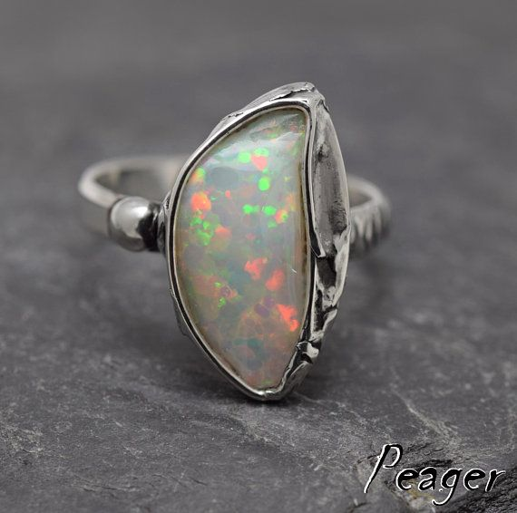 VIDEO Ethiopian Opal ringSterling silver ringMulticoloured