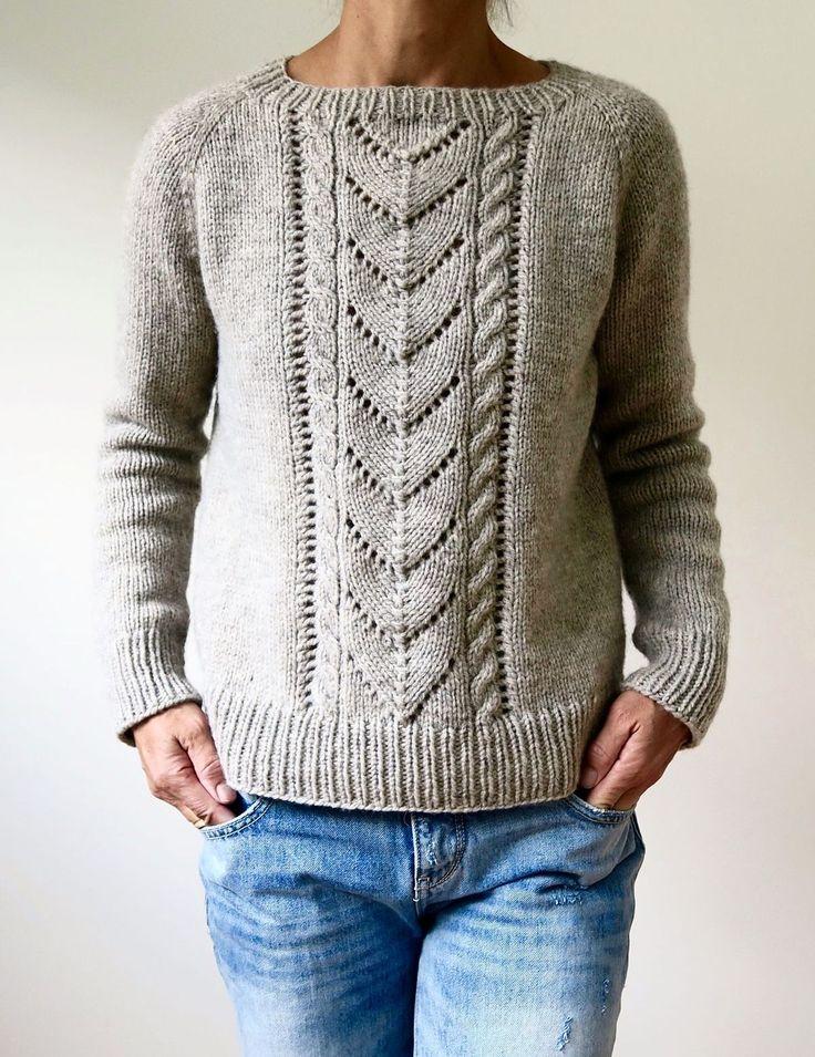 Пуловер реглан с косами сверху