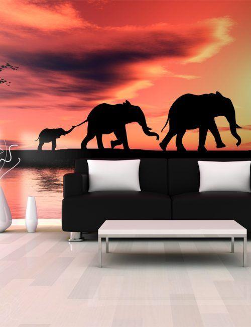 Carta da Parati Famiglia di Elefanti Carta da Parati Fotomurale a Tema Natura con Animali