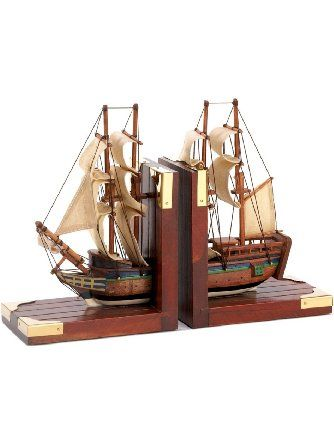 Gifts & Decor Office Library Sailing Schooner Nautical Theme Bookend ❤ Furniture Creations