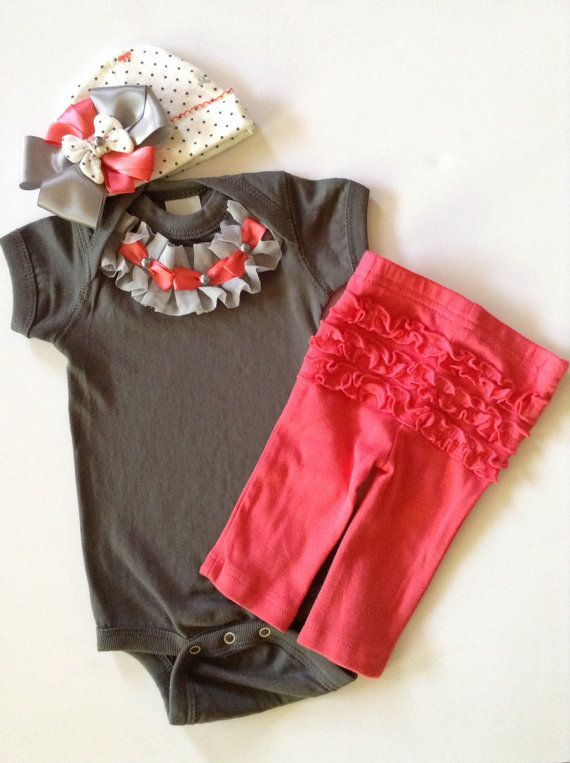 Newborn take me home Baby girl coral pant outfit with polka dot bow beanie grey ruffled bodysuit on Etsy, $43.50