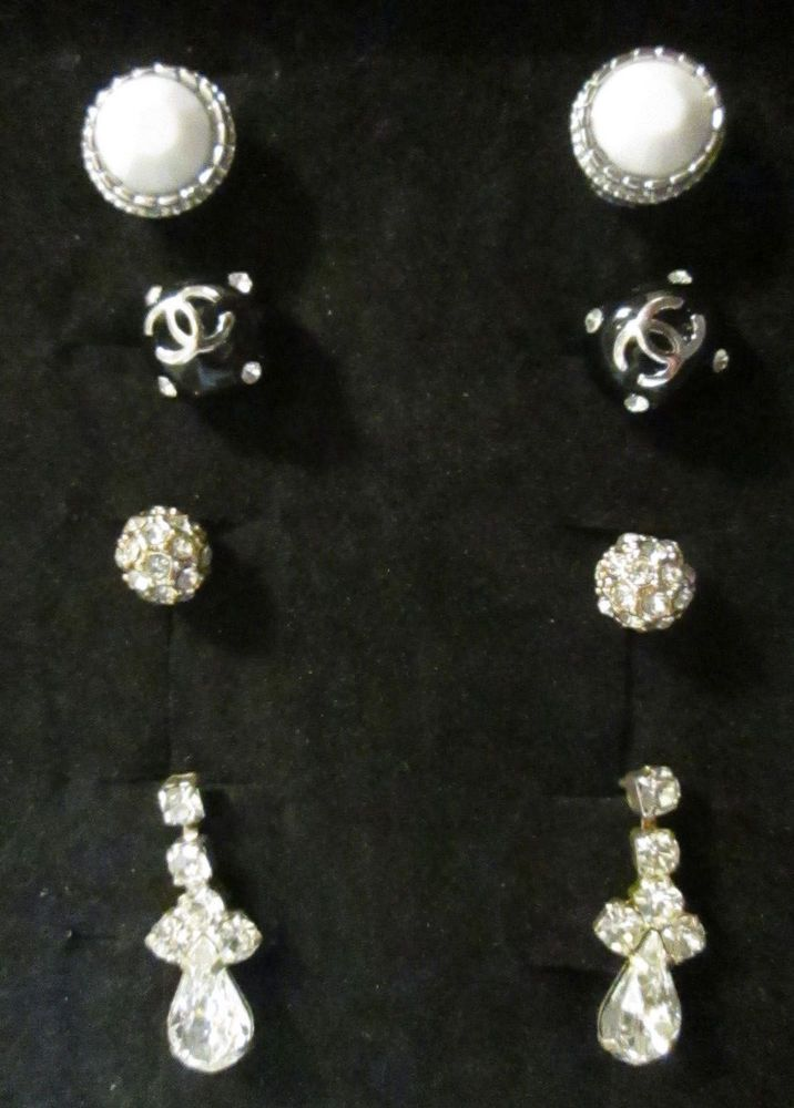 Lot of 4 Pairs of Stud Sparkling Bling Earrings  (NO BACKS) Crystal Rhinestone  #Unbranded #Stud