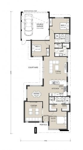 The 25 best ideas about narrow house plans on pinterest for Narrow house plans with attached garage