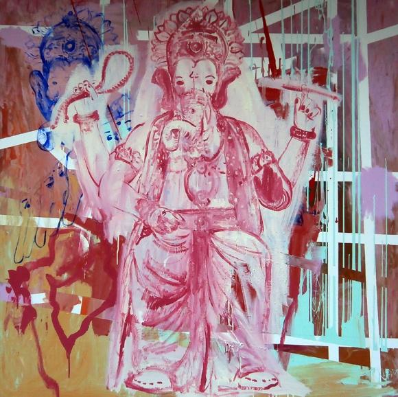 Still life. enamel and acrilyc on canvas. 150x150 cm. 2013