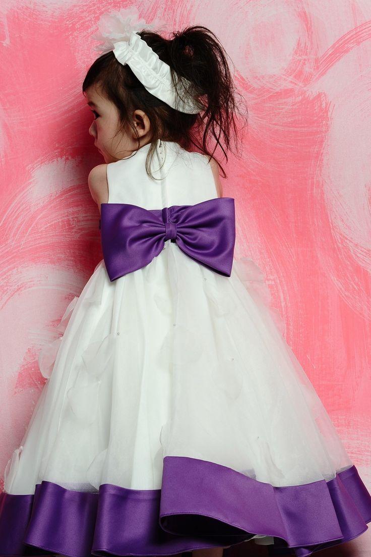 14 best purple white wedding images on pinterest bridesmaids a line scoop tea length satin flower girl dress izmirmasajfo