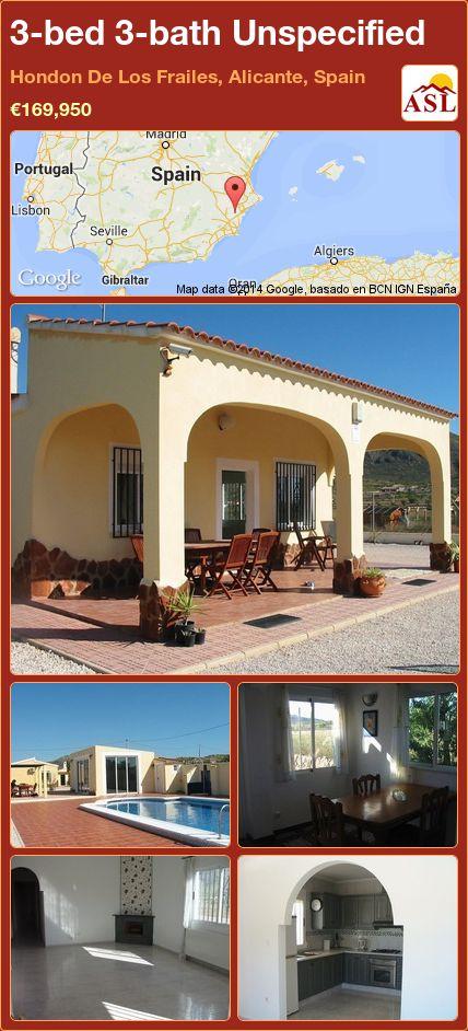 3-bed 3-bath Unspecified in Hondon De Los Frailes, Alicante, Spain ►€169,950 #PropertyForSaleInSpain