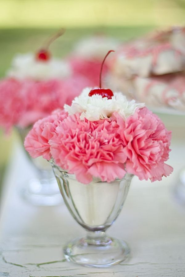 "These carnation ""sundaes"" would be adorable at a Sweet Sixteen or an ice cream birthday party for younger kids."