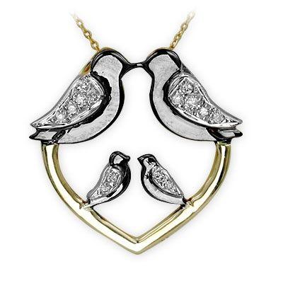 altın kolye, pırlanta kolye, kuş kolye, güvercin kolye, 14 ayar, doğa, sembol kolye, kalp kolye