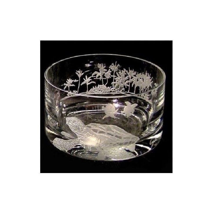 Sea Turtle Bowl | Etched Crystal | Evergreen Crystal