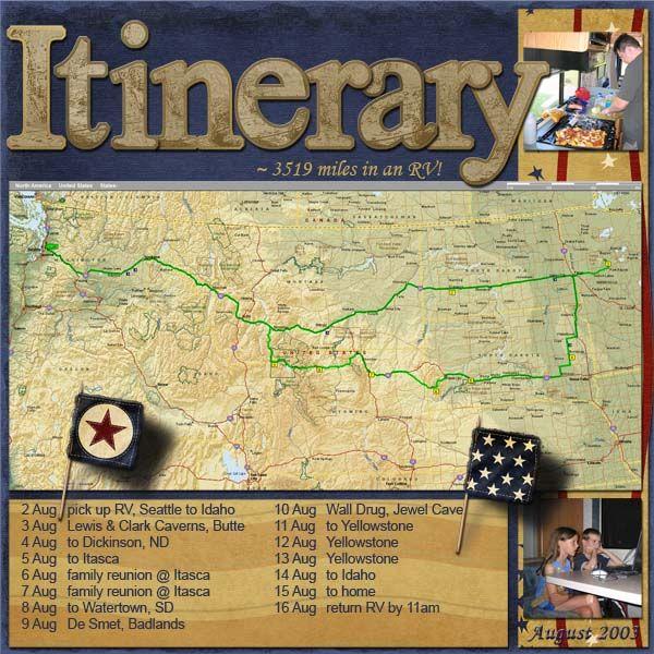 RV Intinerary - Scrapbook