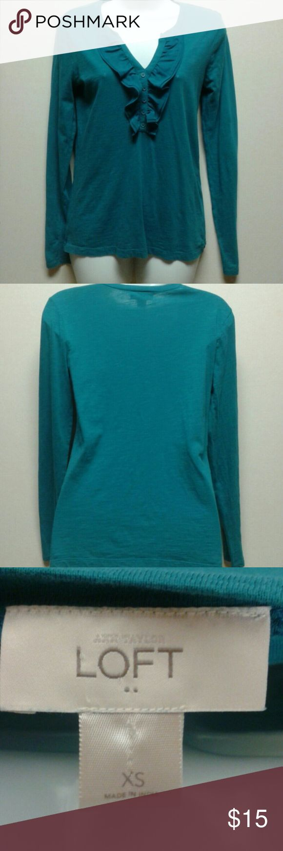 Ann Taylor Loft Green Long sleeve Top XS Ann Taylor Loft Green Long sleeve Top Ruffled Front Size XS  100% Cotton  Contact us for measurements if needed. Ann Taylor Loft Tops Blouses