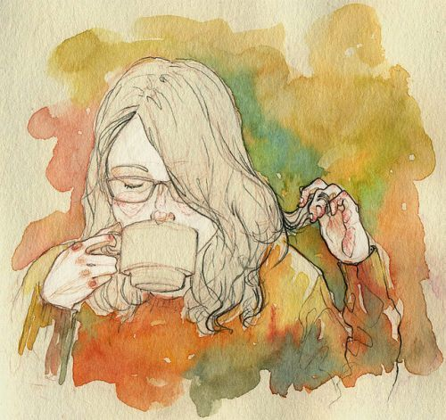 watercolorCoffee Girls, Teas Time, The Artists, Watercolors, Sketches Art, Illustration, Mornings Coffe, Longer Hair, Water Colors