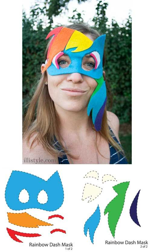 Diy my little pony masks with printable templates free for Rainbow dash cake template