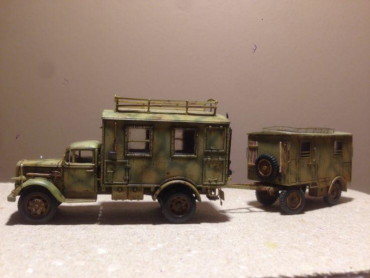 1/87 Luftwaffe radio truck with trailer, 1943. Hauler kit, herpa minitanks.