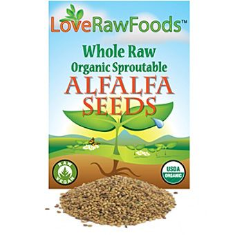 The 10 oz size of alfalfa seeds is nice for using on salads, as a medicinal supplement, or helping with digestion. Alfalfa seeds are high in Vitamin A, B, E, K, niacin and calcium and very low in cholesterol, sodium and saturated fat.  INGREDIENTS: PREMIUM, ORGANIC, WHOLE, RAW, SPROUTABLE ALFALFA SEEDS.