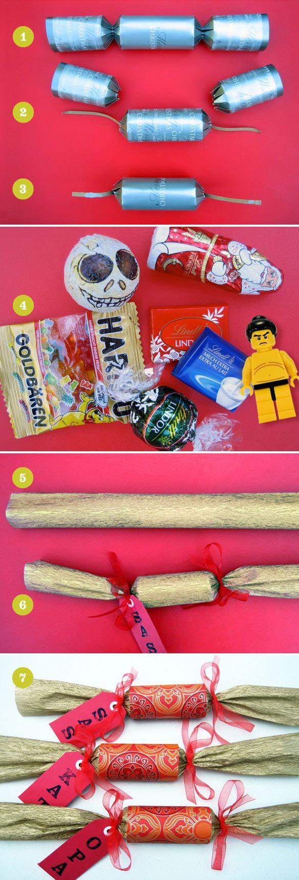 Pimp my cracker!  DIY Christmas crackers tutorial, using re-purposed inexpensive store-bought crackers.