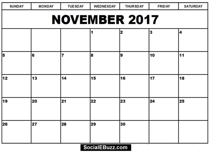 13 Best November 2017 Calendar Images On Pinterest Printable