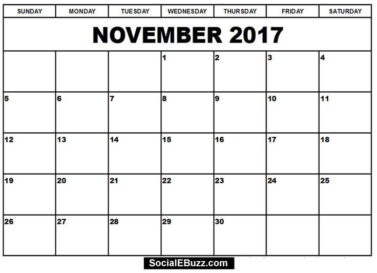 November 2017 Calendar Printable Template http://socialebuzz.com ...