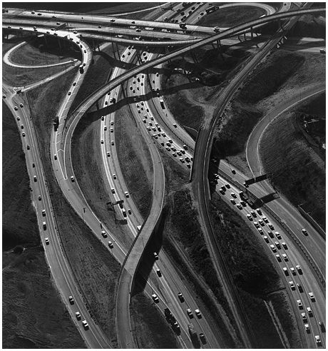 Ansel Adams, Freeway Interchange, line - this depresses me, actually - interesting how a photo can bring out various feelings