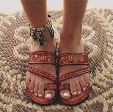Leather Hand Painted Mexican Sandals FREE by AMANTOLLIdotcom