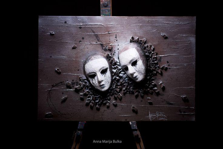 Abstrakte Skulpturen Relief Wandbild 3D Fine Art Malerei Portrait Maske Acryl Leinwand schwere strukturierte Wand Kunst Pierrot von Anna Bulka von ArtStudioPainting999 auf Etsy https://www.etsy.com/de/listing/208397856/abstrakte-skulpturen-relief-wandbild-3d
