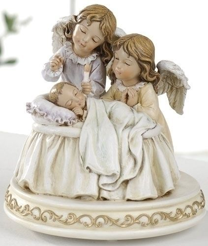 Guardian Angel Watching Over Baby Musical Figure Brahms