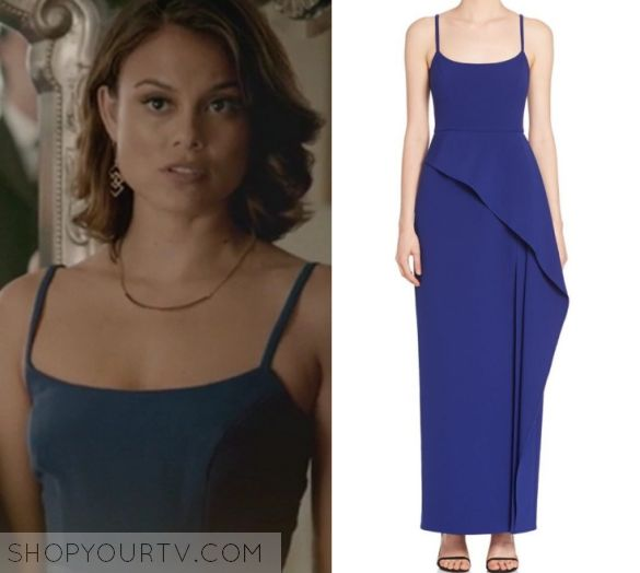 Sybil / Nathalie Kelley blue wrap dress in The Vampire Diaries 8x09 - The Simple Intimacy of The Near Touch
