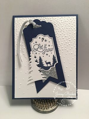 Stampin' Up! Softly falling embossing folder, Merry Little Labels, Card Front Builder,