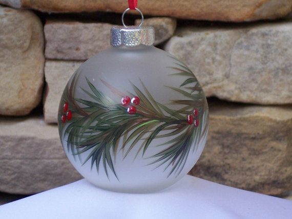 Hand Painted Ornament with Garland and Holly by NaturesPetals, $15.00