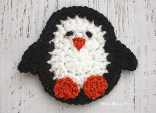 P is for Penguin: Crochet Penguin Applique - Repeat Crafter Me ~ FREE - CROCHET