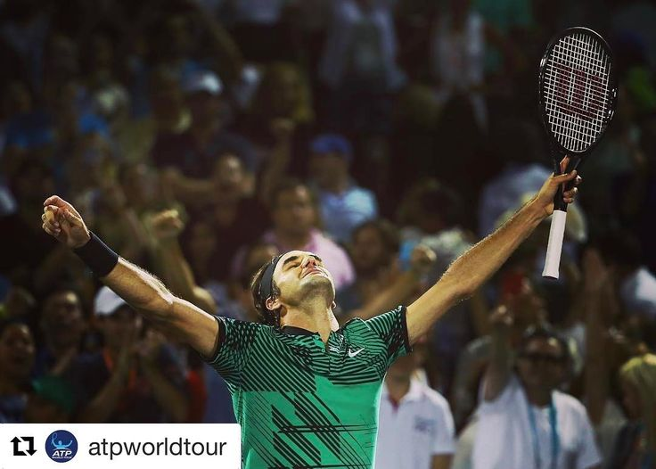 After a thrilling 3 hours @rogerfederer outlasts #Kyrgios 7-6(9) 6-7(9) 7-6(5) to set a @miamiopen final clash vs #Nadal. #ATP #tennis #miamiopen #ATPMasters1000 #federer