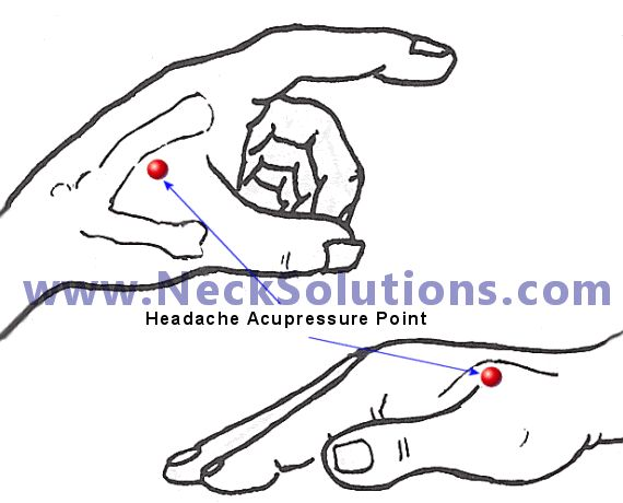 Headache Pressure Point Illustrated And Explained To Help Obtain Natural Effective Headache Relief.