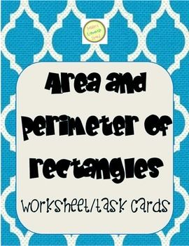 Area and Perimeter of Rectangle Word Problems Worksheet and TASK CARDS