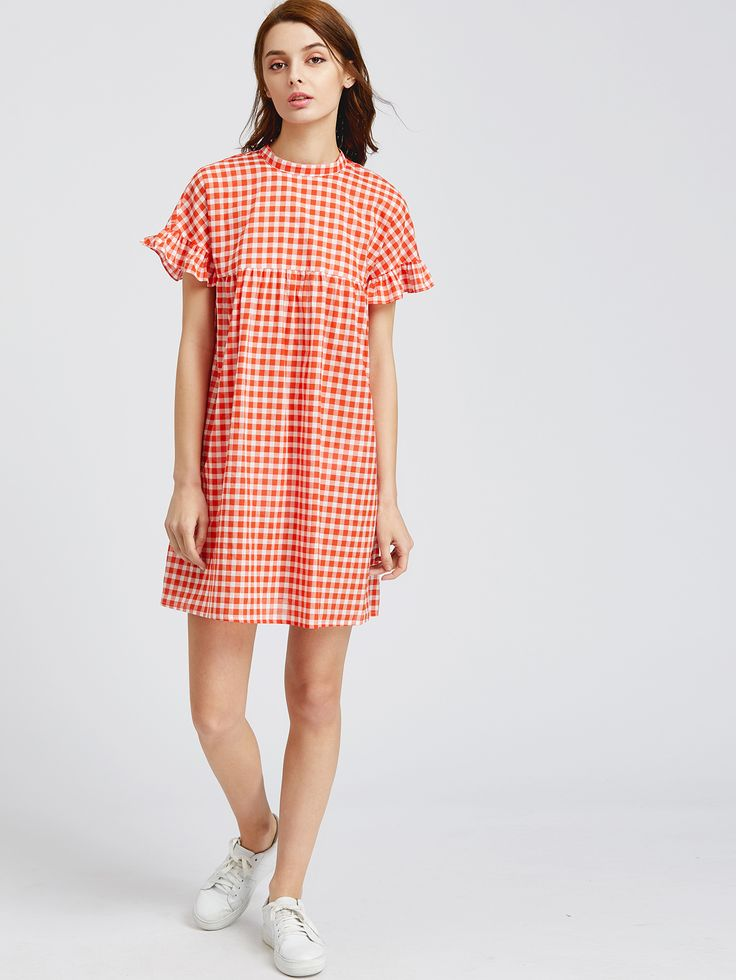 Shop Checkered Frill Sleeve Keyhole Tie Back Smock Dress online. SheIn  offers Checkered Frill Sleeve Keyhole Tie Back Smock Dress & more to fit  your ...