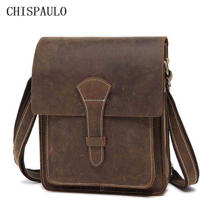 CHISPAULO Crazy Horse Genuine Leather Men Bag Vintage Male Small Men Shoulder Messenger Bags Small Crossbody Bags Messenger T716
