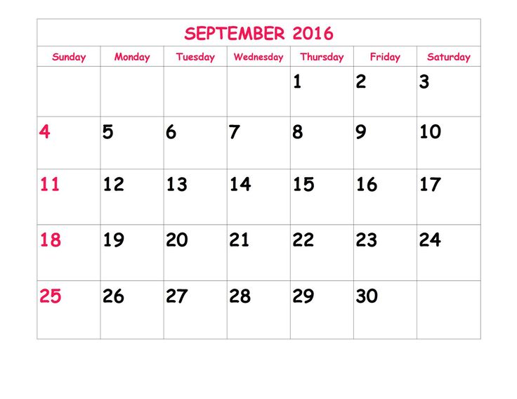 Download free September 2016 Calendar, Printable Template with holidays &…