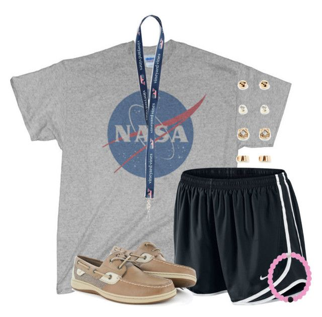 """""""Our first football game tomorrow!"""" by flroasburn ❤ liked on Polyvore featuring NIKE, Sperry and Forever 21"""