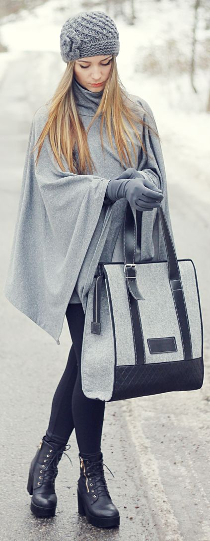 Great cold weather outfit. Simple and classy in a grey cape, tote, gloves, and hat. #cape #gloves