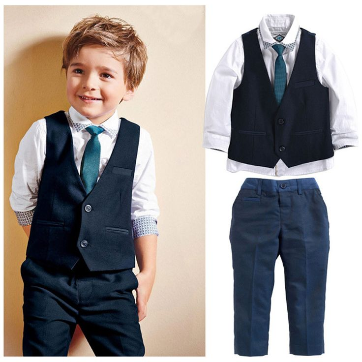 Wedding Suits For Baby Boys 3pcs Set Autumn 2017 New Children's Leisure Clothing Sets Kids Baby Boy Suit Vest Gentleman Clothes