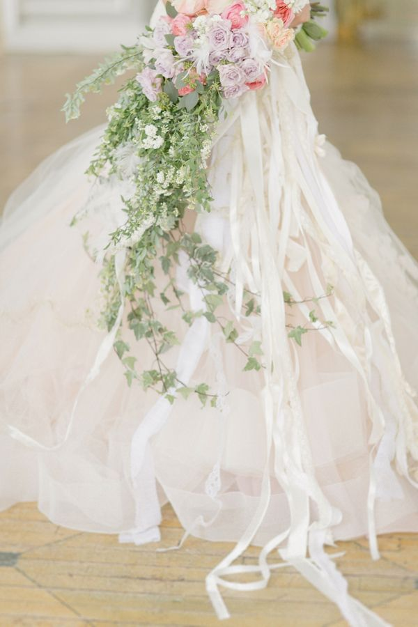 Cascading Bouquet With Lace and Ribbon Streamers | photography by http://www.elisabethmillay.com/